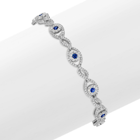 Round Sapphire and Diamond Fashion Bracelet (7.25 in)