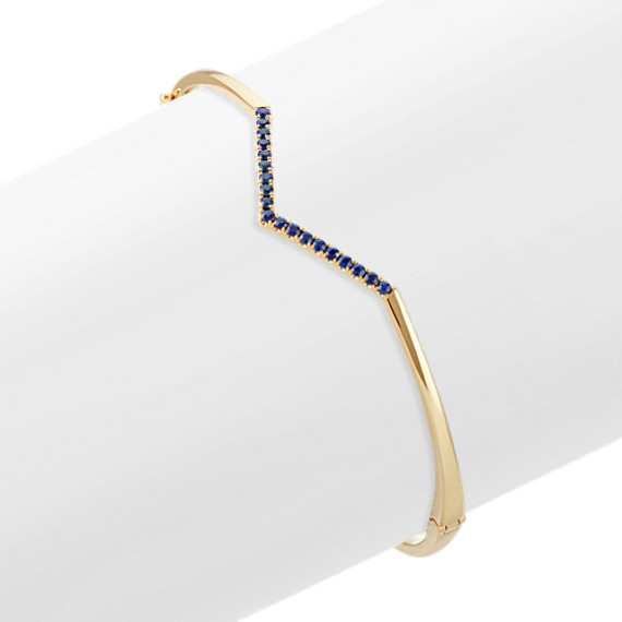 Round Traditional Sapphire 14k Yellow Gold V Bangle Bracelet (7 in)