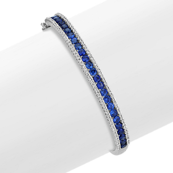 Round Traditional Sapphire and Round Diamond Bangle (7.5 in)