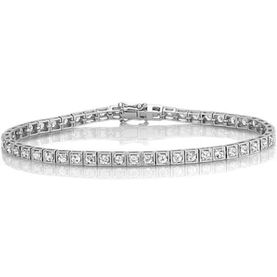 Round White Sapphire Tennis Bracelet (7.5 in)