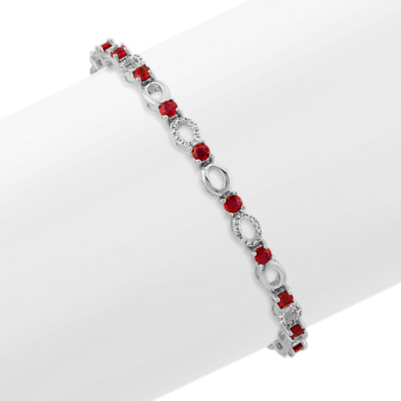 Ruby and Diamond Link Bracelet (7 in)
