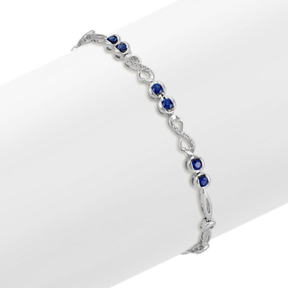 Sapphire and Diamond Infinity Bracelet in 14k White Gold (7 in)