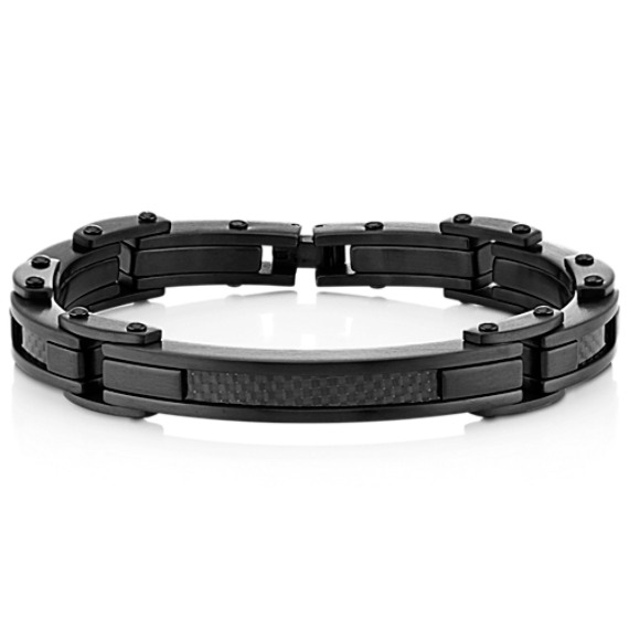 Stainless Steel Link Bracelet with Carbon Fiber Accent (8.25 in.) image