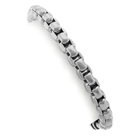 Stainless Steel Mens Box Bracelet (8.5 in)