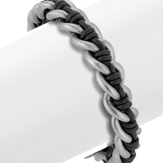 8.5 in Mens Stainless Steel and Black Leather Chain Bracelet