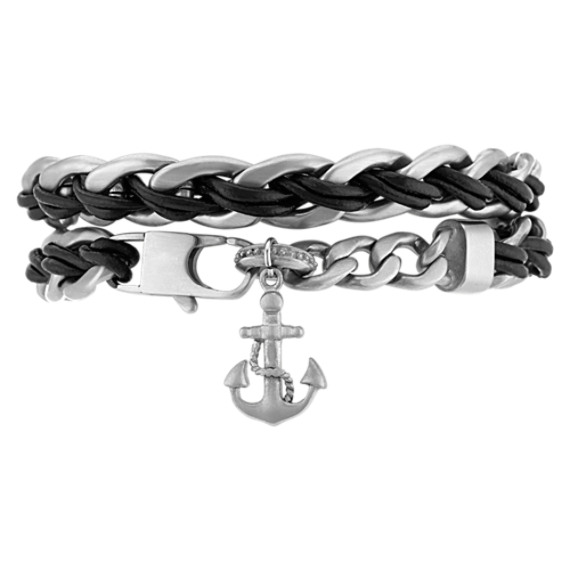 Stainless Steel and Black Leather Wrap Bracelet (8.5 in) image