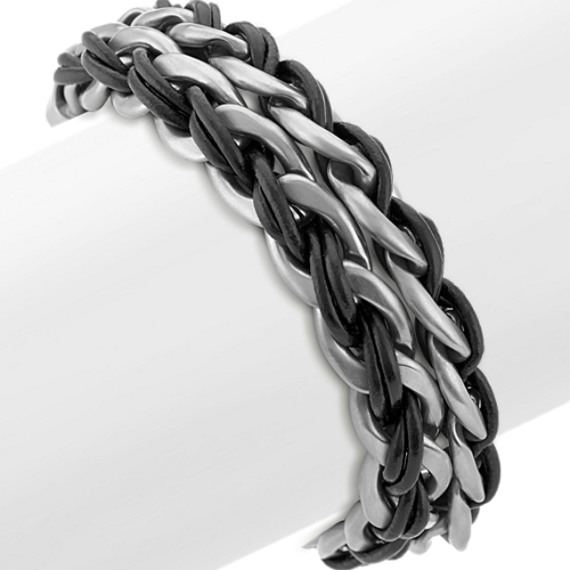 Stainless Steel and Black Leather Wrap Bracelet (8.5 in)