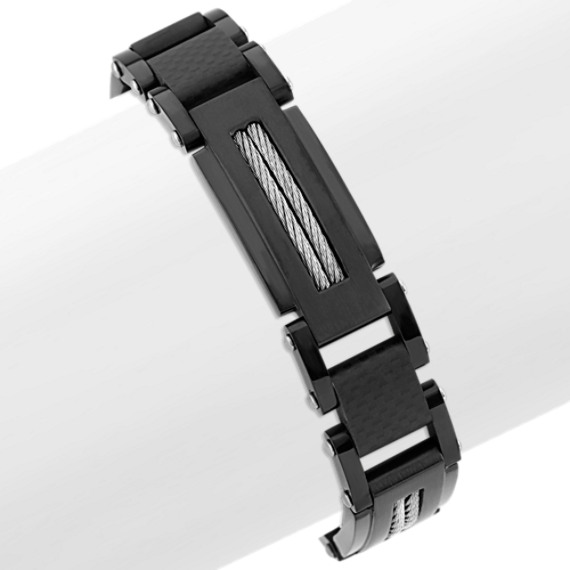 Stainless Steel and Carbon Fiber Bracelet (8.5 in)