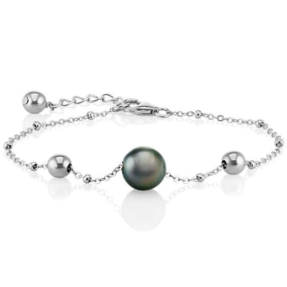 Sterling Silver 10mm Cultured Tahitian Pearl Bracelet (7.5 in) image