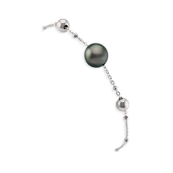 Sterling Silver 10mm Cultured Tahitian Pearl Bracelet (7.5 in)