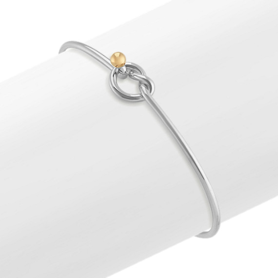 Sterling Silver and 14k Yellow Gold Bangle Knot Bracelet (7 in)