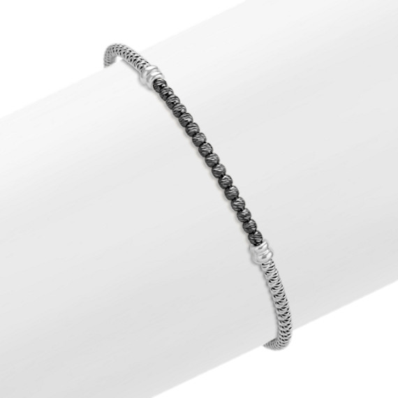 Sterling Silver and Black Sterling Silver Bracelet (7.5 in)
