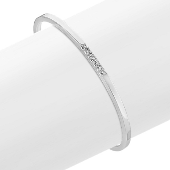 Sterling Silver and Round Diamond Cuff Bracelet (7 in)