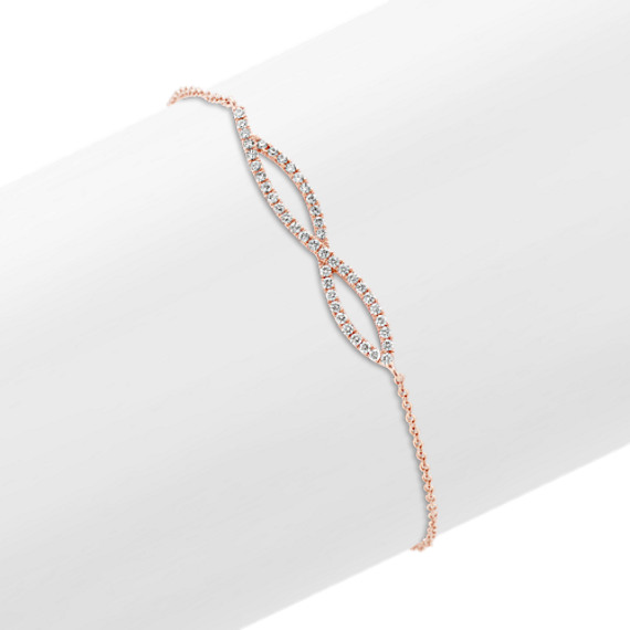 Swirl Diamond Bracelet in 14k Rose Gold (7 in)