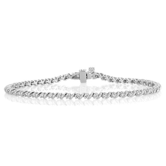Swirl Diamond Tennis Bracelet (7 in)