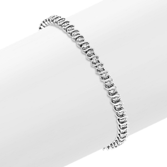 Swirl Diamond Tennis Bracelet (7 in)