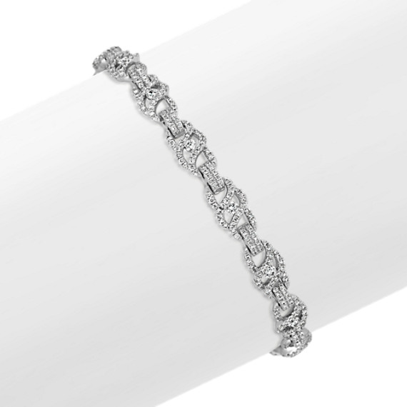 Swirl Link and Round Diamond Bracelet (7 in)