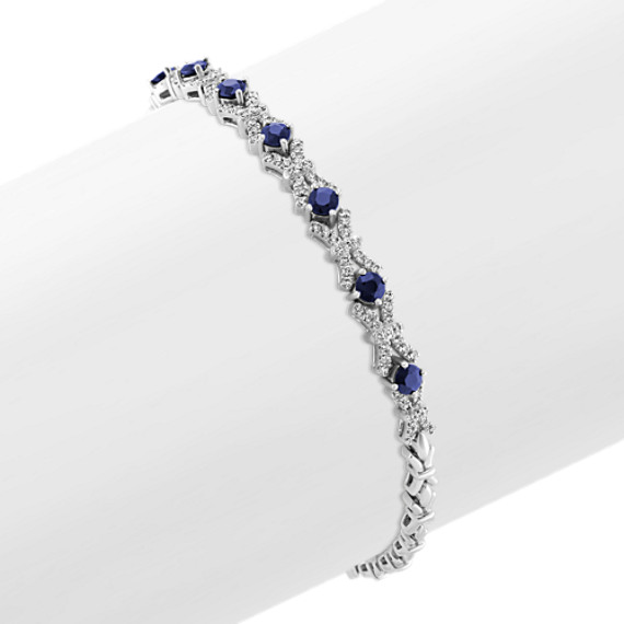 Traditional Blue Sapphire and Diamond Bracelet (7 in)