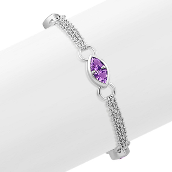 Trillion Amethyst Sterling Silver Bracelet (7 in)
