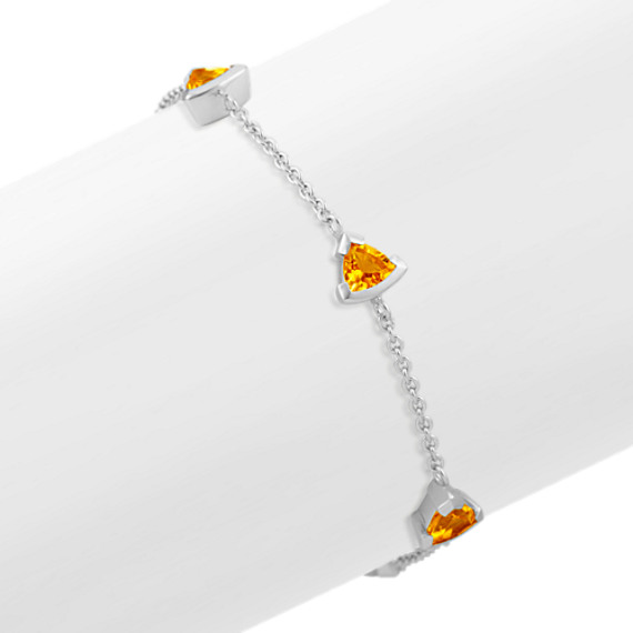 Trillion Citrine Bracelet in Sterling Silver (7.5 in)