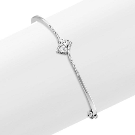 Two-Stone Bangle in 14k White Gold (7 in)