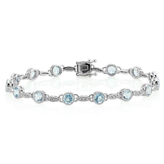 Vintage Aquamarine and Diamond Bracelet (7 in)