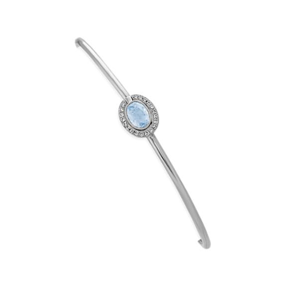 Vintage Aquamarine and Diamond Interlocking Bracelet