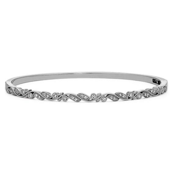 Vintage Diamond Bangle Bracelet (7 in)