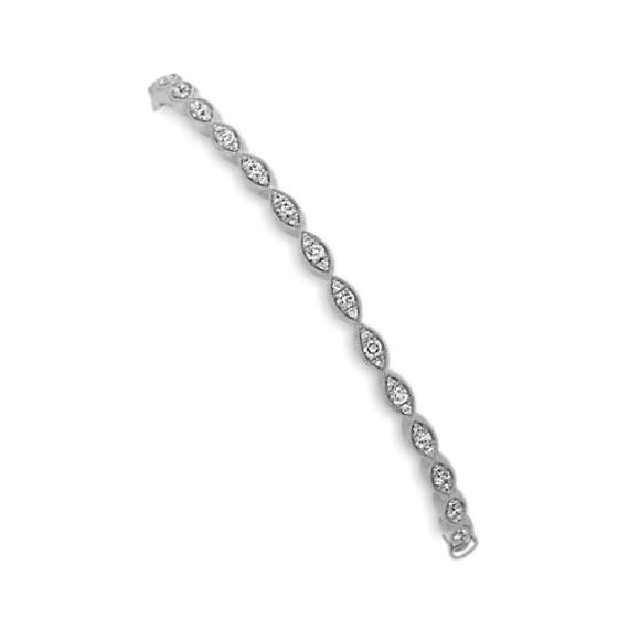 Vintage Diamond Bangle Bracelet in 14k White Gold