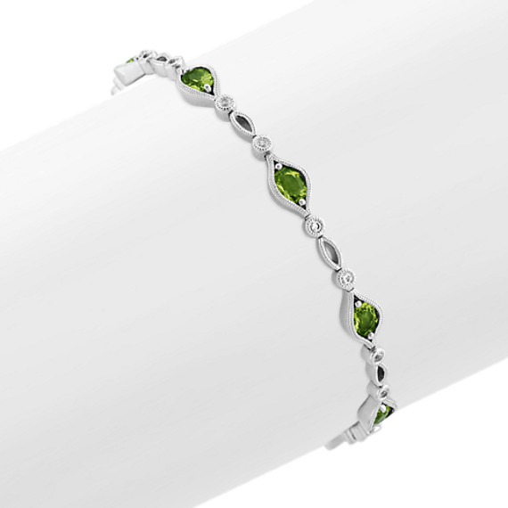 Vintage Green Peridot and White Sapphire Bracelet (7 in)