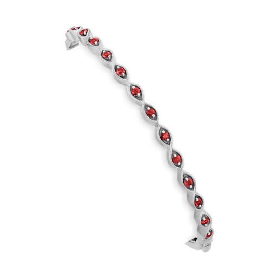 Vintage Ruby Bangle Bracelet (7 in)