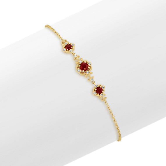Vintage Ruby and Diamond Bracelet (7.5 in)