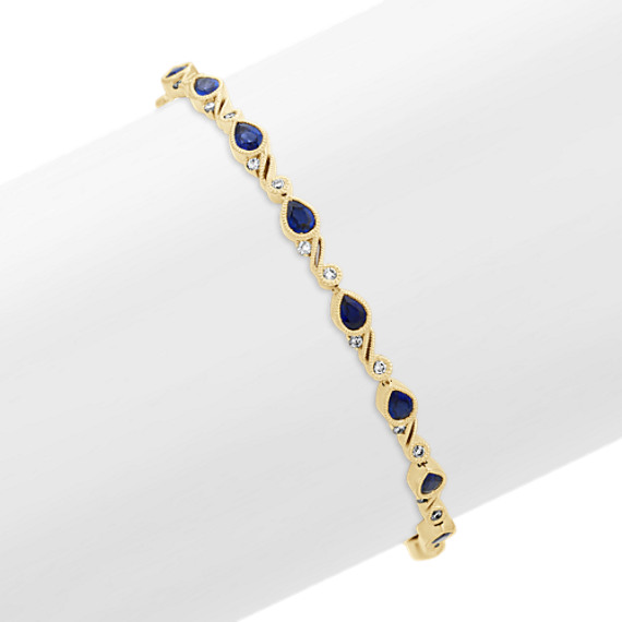 Vintage Traditional Blue Sapphire and Diamond Bracelet (7 in)