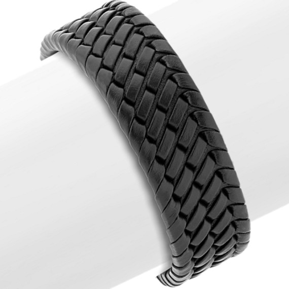Woven Black Leather and Stainless Steel Bracelet (8 in)