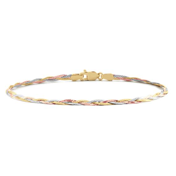 Woven Bracelet in 14k Tri-Tone Gold (7.5 in)