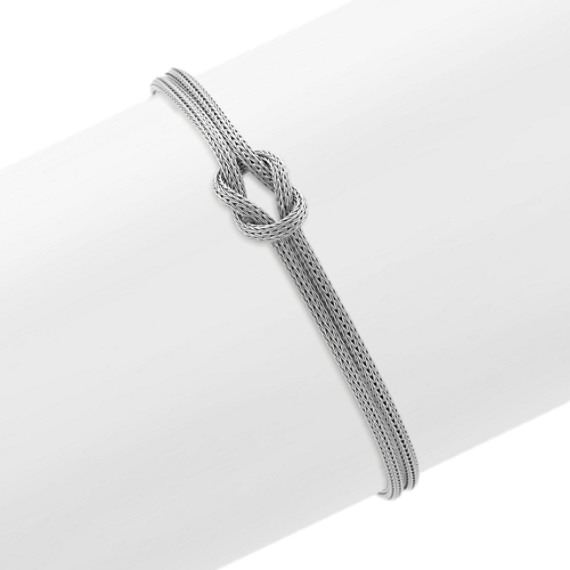 Woven Sterling Silver Bracelet with Knot Accent (7.5 in)