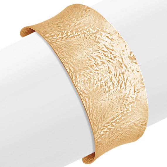 Yellow Sterling Silver Etched Cuff Bracelet (7 in)