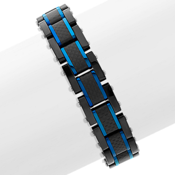 Black and Blue Stainless Steel Bracelet (8 in.)