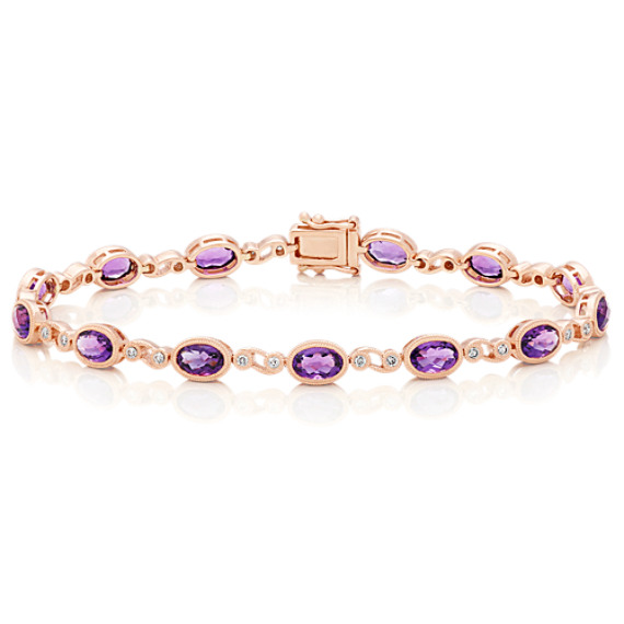 Amethyst and Round Diamond Bracelet (7 in) image