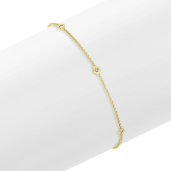 Bezel-Set Diamond Bracelet in 14k Yellow Gold (8