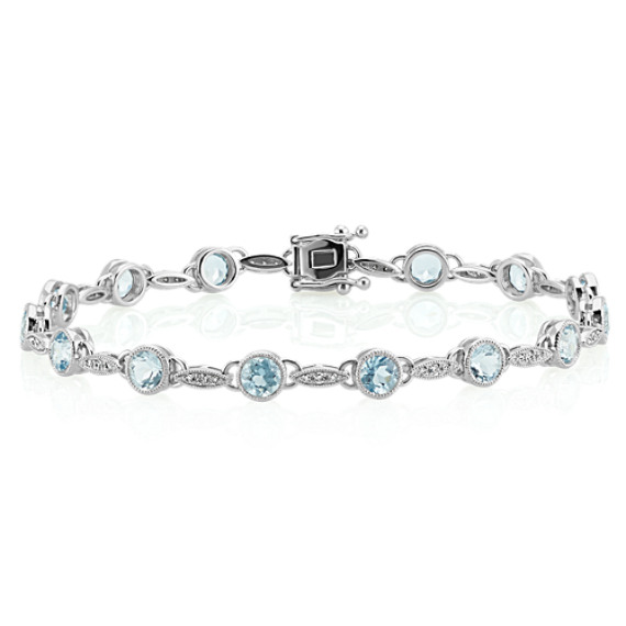 Vintage Aquamarine and Diamond Bracelet (7 in.) image
