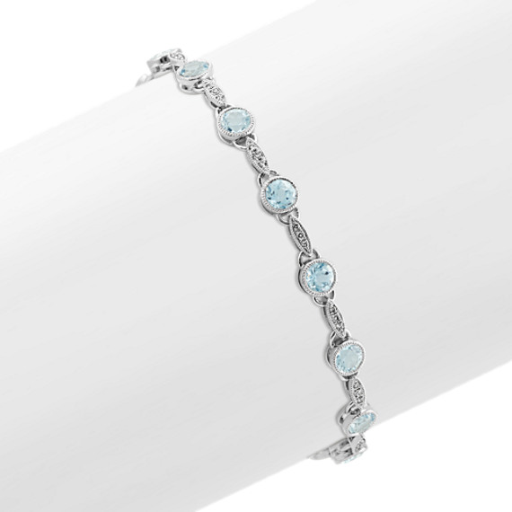 Vintage Aquamarine and Diamond Bracelet (7 in.)