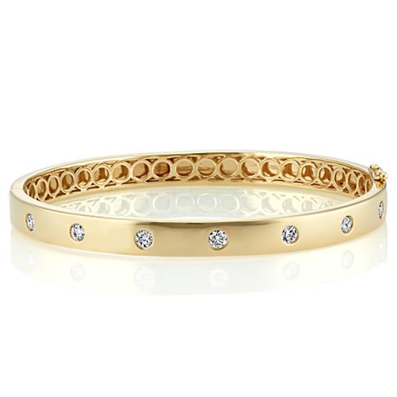 Diamond Bangle Bracelet in 14k Yellow Gold (7 in) image