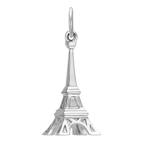 14k White Gold Eiffel Tower Charm