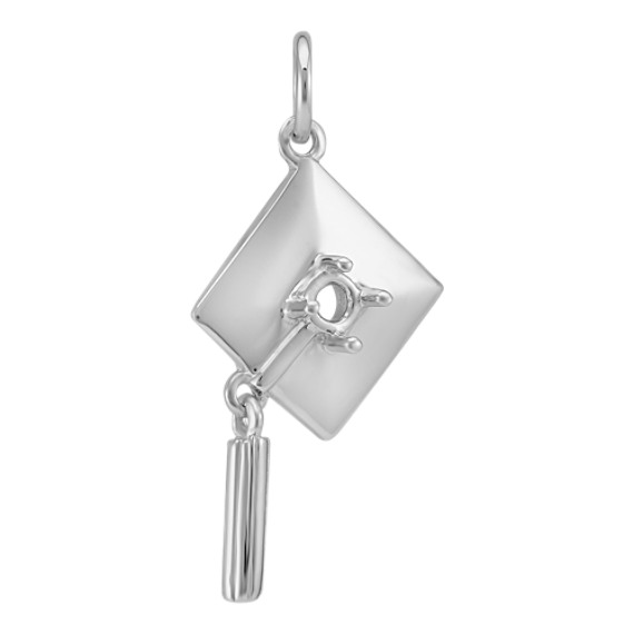 14k White Gold Graduation Cap Charm