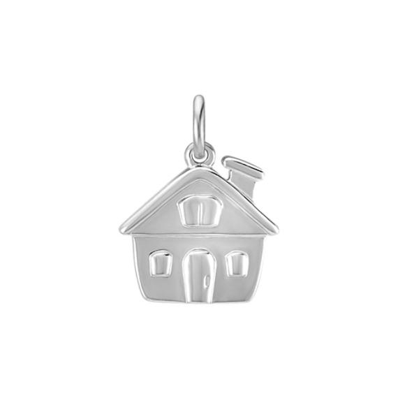 14k White Gold House Charm