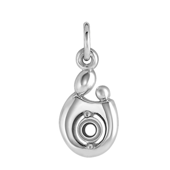 14k White Gold Mother & Child Charm