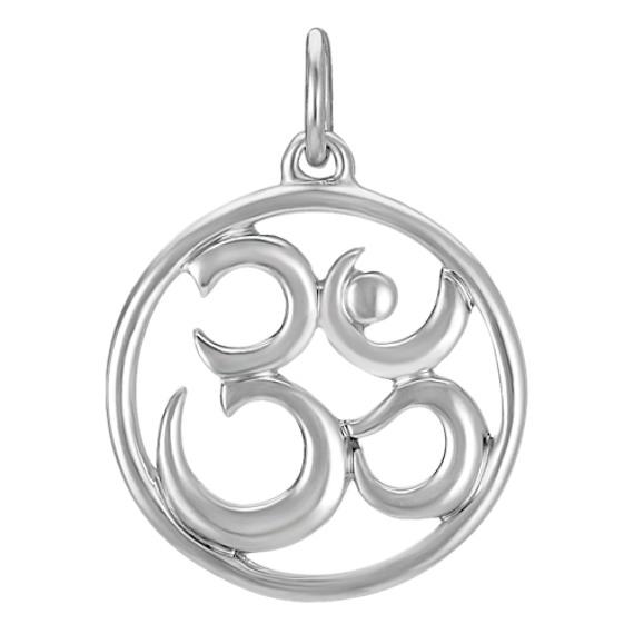 14k White Gold Om Symbol Charm Shane Co
