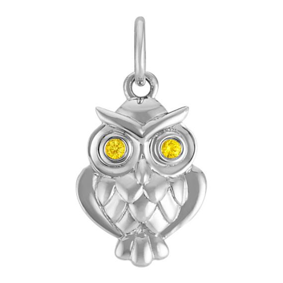 14k White Gold Yellow Sapphire Owl Charm