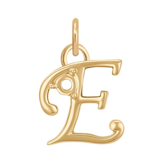 14k Yellow Gold Letter E Charm
